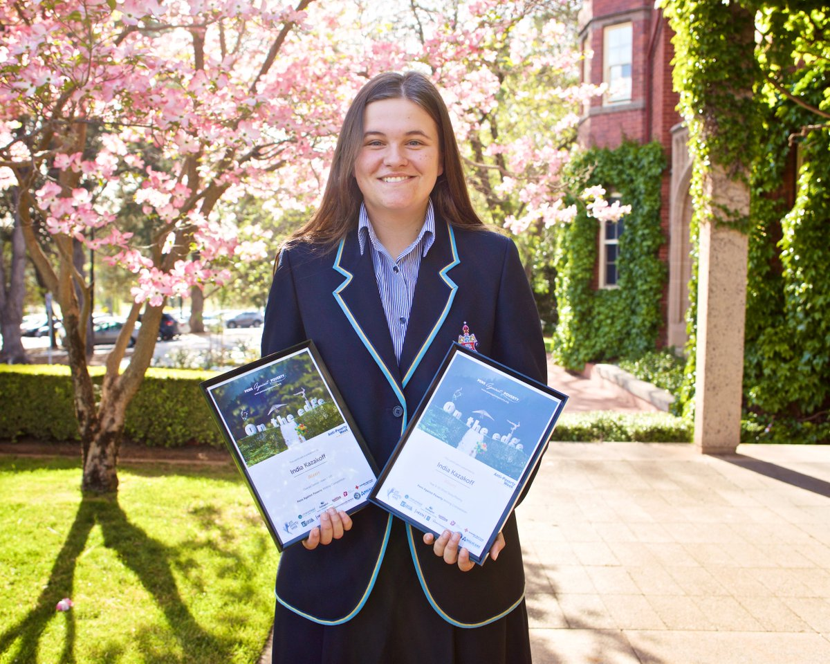 Congrats to India (pictured) & Evelyn who won a prize at the 'Pens Against Poverty' competition & are now both in the running for one of the major awards.