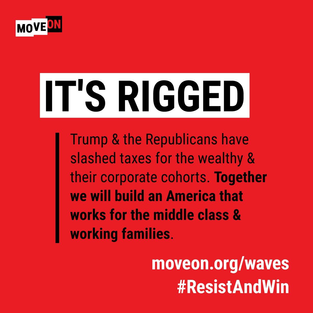 Its time to end @GOP control of the House & their stronghold on #Congress. Its time to #ResistAndWin: moveon.org/resistandwin