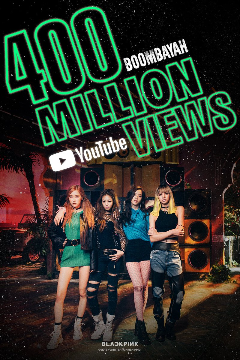 #BLACKPINK '#붐바야 (BOOMBAYAH)' M/V HITS 400 MILLION VIEWS on @YouTube  🎥 https://t.co/agc3pZNRCO  #블랙핑크 #BOOMBAYAH #400MILLION #YG