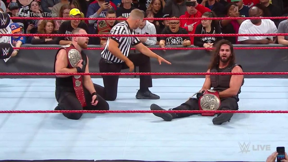 CHAMPS ONCE AGAIN.  @WWERollins & @TheDeanAmbrose are your NEWWWW #RAW #TagTeamChampions!