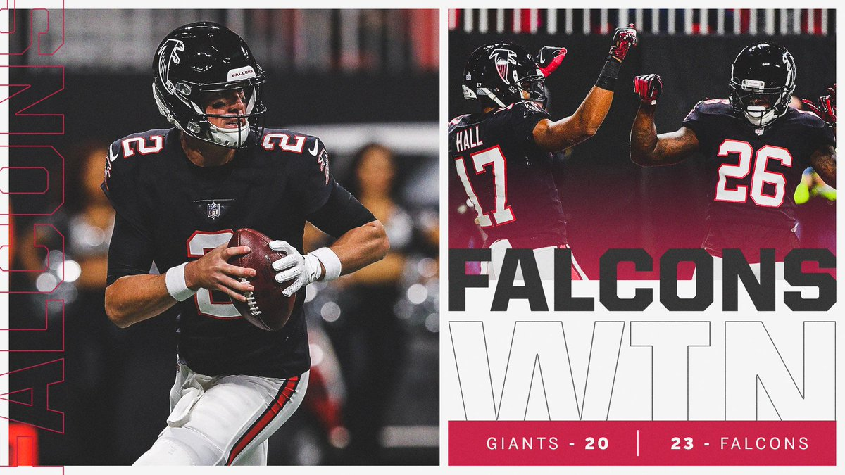 Atlanta gets the W on Monday Night!  The Falcons are the first team to hold Saquon Barkley to under 100 scrimmage yards.