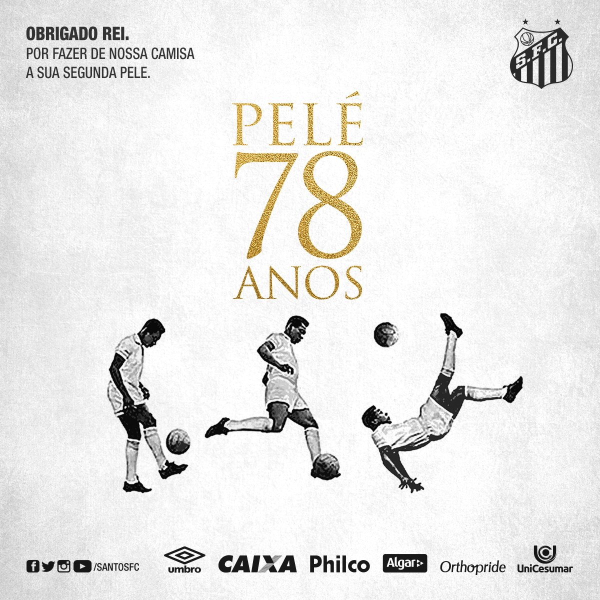 Sem você o futebol não seria o mesmo. Parabéns, @Pele! #Pelé78👑