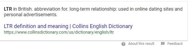 Ltr dating abbreviation