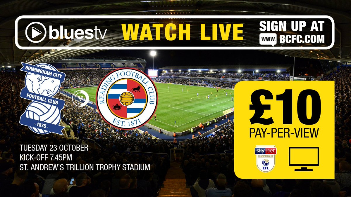 📺 Watch Blues' home clash with @ReadingFC on BluesTV tonight!  This fixture is available to all pay-per-view purchasers, including UK are Ireland supporters.  More 👉 https://t.co/4zTTErwAvO #BCFC