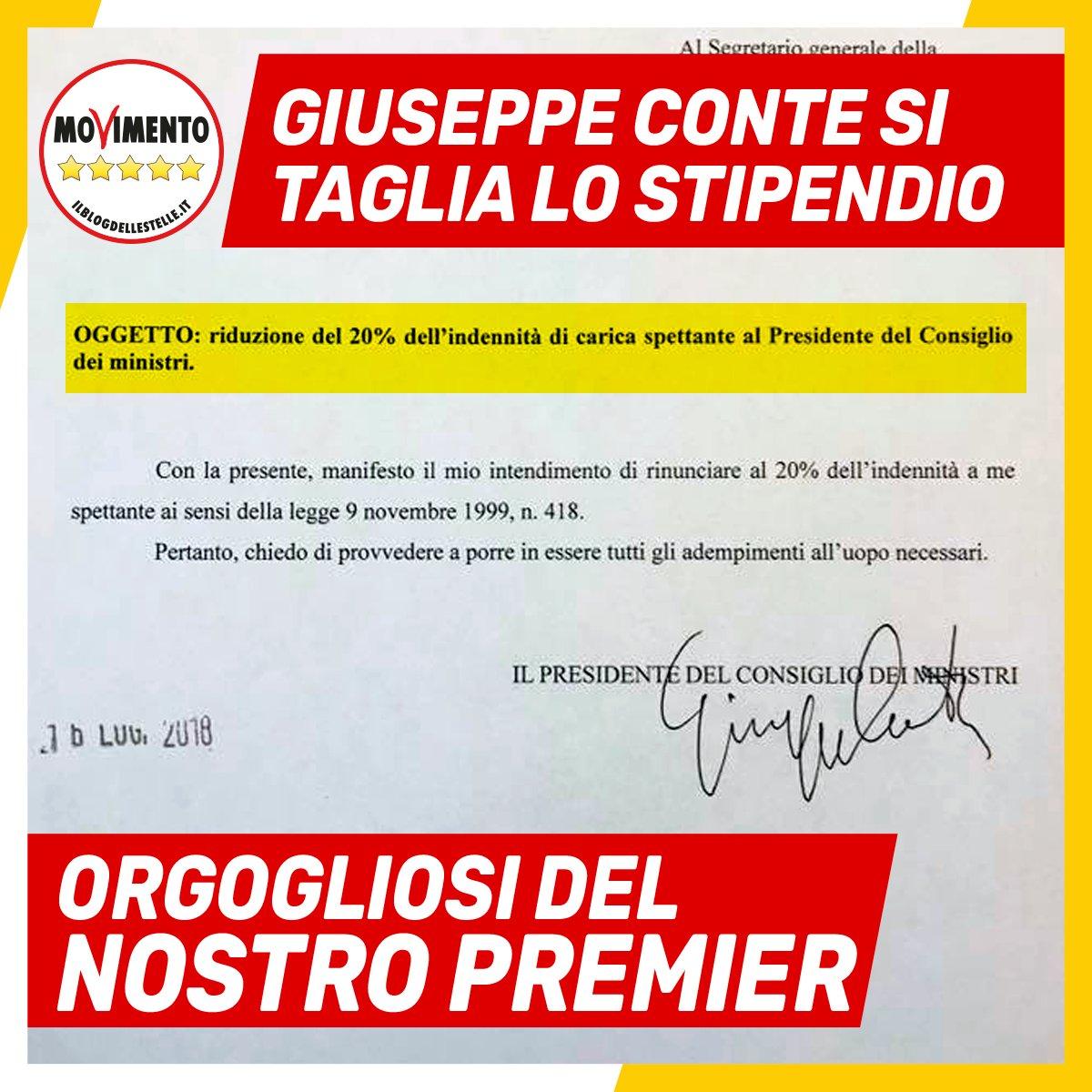 Il primo Presidente del Consiglio della storia a tagliarsi lo #stipendio. Orgogliosi di @GiuseppeConteIT !