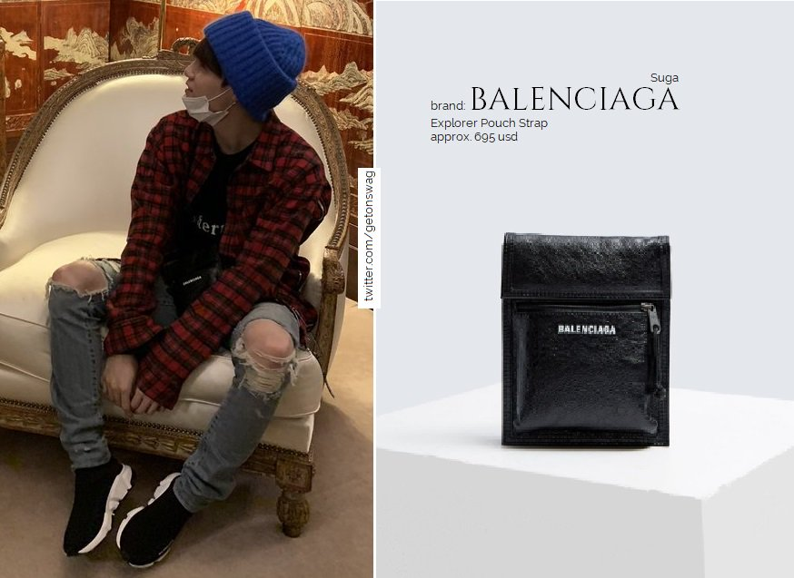 fcd2d99ab2 #BTS #SUGA #민윤기 #방탄소년단 181023 Mastermind black t-shirt Balenciaga