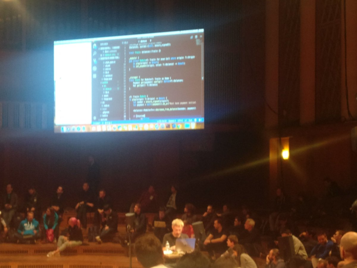 @gavofyork at #Web3Summit live coding on newly unpacked laptop a new blockchain using @ParityTech #Substrate
