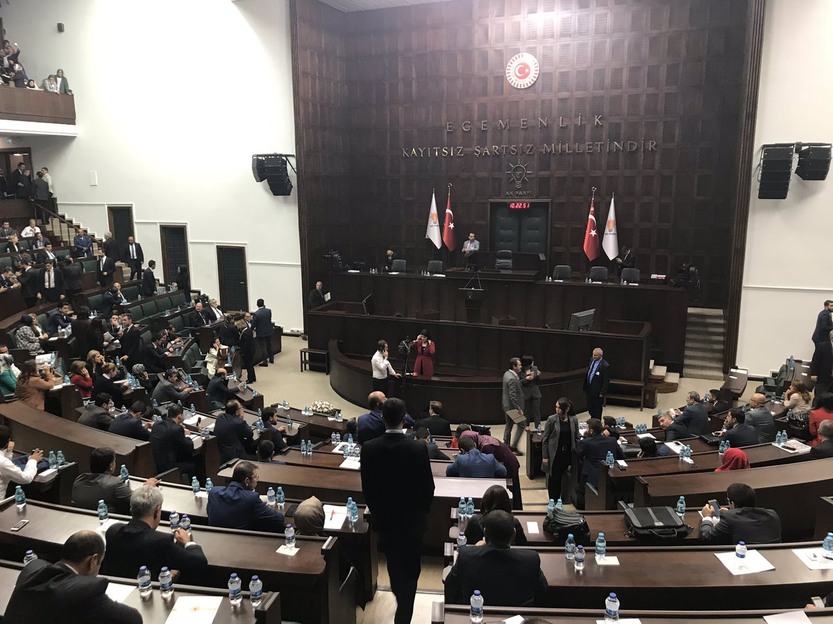 "Awaiting President Erdogan inside Turkey's Parliament. He has promised to provide the ""naked truth"" today on the Jamal Khashoggi case."