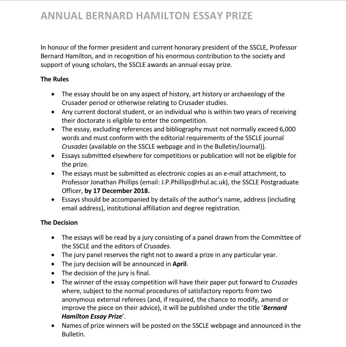 Sscle On Twitter Call To Phd Students And Ecrs For Submissions To  Sscle On Twitter Call To Phd Students And Ecrs For Submissions To The  Annual Bernard Hamilton Essay Prize Deadline Dec Th Get Published In  Crusades