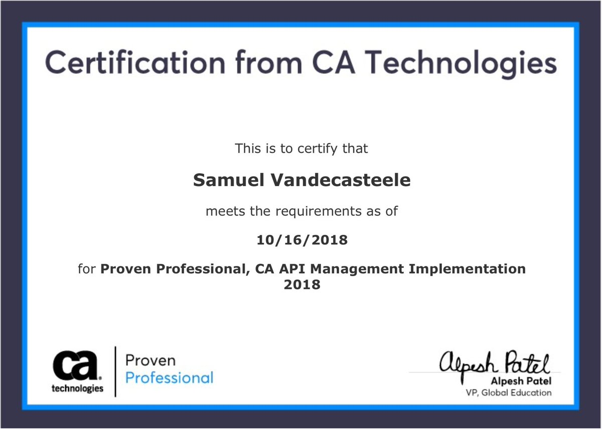 Proud to announce my certification as Proven professional on CA API Management implementation. Let's do some more cool API projects! @CAapi  @i8c #APIManagement #integration #security https://t.co/WhQMfkKSX1