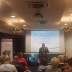 """Chief Medical Officer for Wales, Dr Frank Atherton @CMOWales explains to our attendees the importance of clinical engagement across the whole multi professional workforce. """"Working together across each speciality is so important. It is so good to see how PROMPT embeds this"""""""