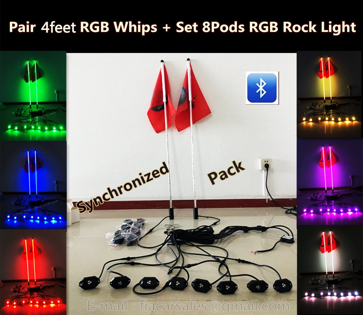 Pair 4feet RGB Spiral Wrapped Whips Light Sync with one Set 8Pods RGB Rock Light