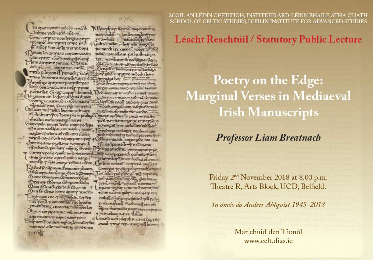 test Twitter Media - Léacht Reachtúil / Statutory Public Lecture #SCSTionól2018 will take place on Friday 2nd November @ucddublin at 8pm.  'Poetry on the Edge: Marginal Verses in Mediaeval Irish Manuscripts.' Prof. Liam Breatnach. https://t.co/kxU3DI9FJH