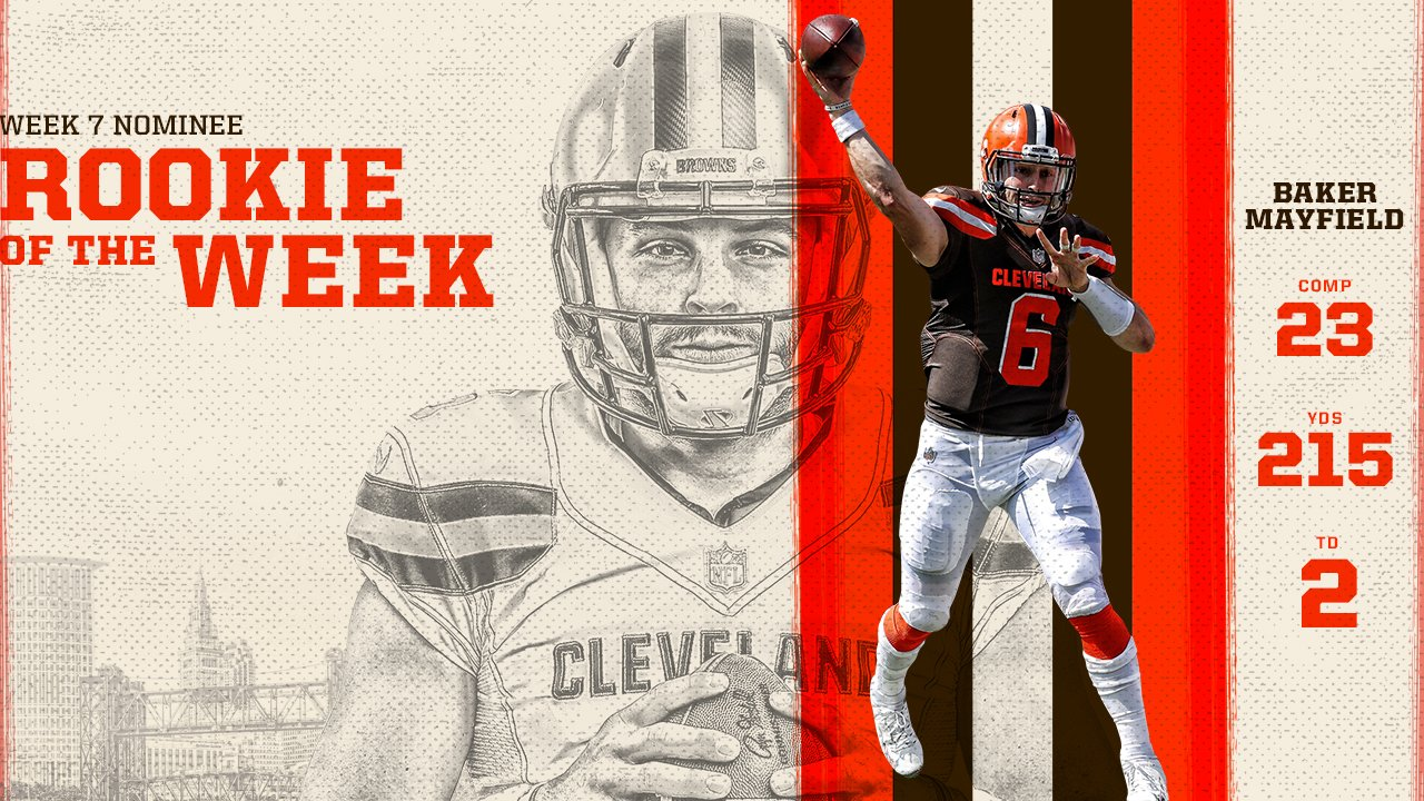 QB @bakermayfield is up for @NFL Rookie of the Week!  Vote here » https://t.co/NXM3JLJ8kL https://t.co/cKns9YneU0