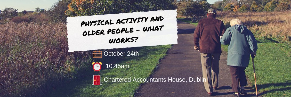 🚨FINAL CHANCE TO REGISTER🚨 Free event on physical activity & older people tomorrow at 10.45am in Chartered Accountants House, Dublin 💬 Keynote by Dr Andrew Boyd  💻 Email leah.friend@publichealth.ie before 1pm today to register ℹ️ More info go to  https://t.co/dRLFKLXbps