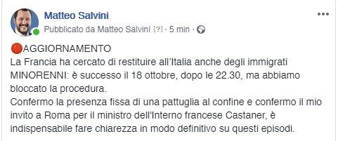 Confermo la presenza fissa di una pattuglia al confine e confermo il mio invito a Roma per il ministro dell'Interno francese Castaner, è indispensabile fare chiarezza in modo definitivo su questi episodi. https://t.co/UiDdIUZtpJ