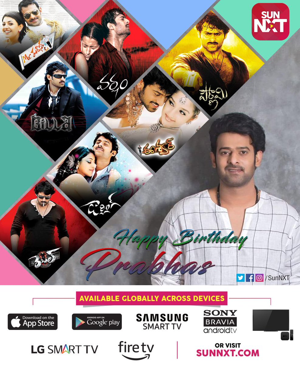 Sun NXT wishes a very Happy Birthday to #Prabhas! Watch his