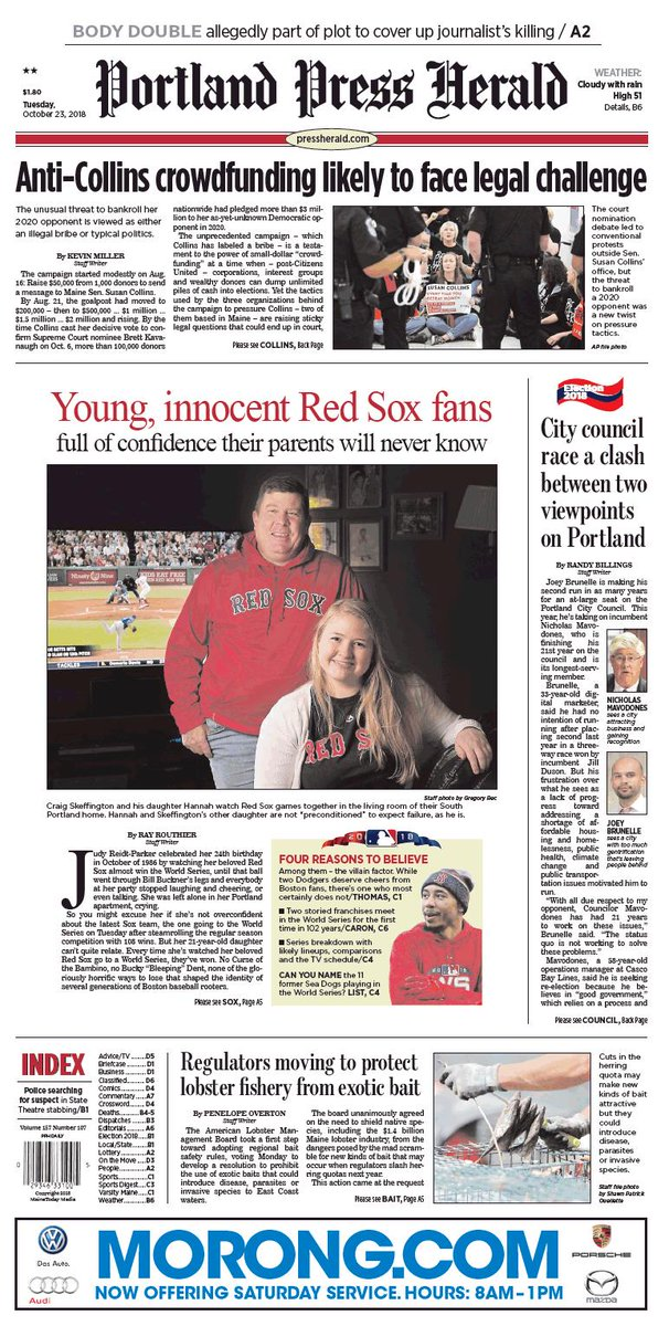 Today's Portland Press Herald front page, Tuesday, October 23, 2018