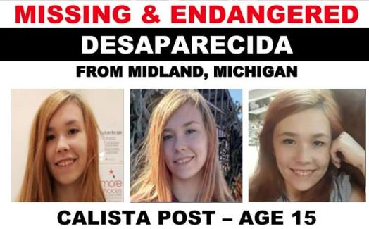 MISSING, PLS RT: Calista Post is missing from Midland, Mich.  Call the Midland County Sheriff's Office at 989-839-4600 or the Center for Search & Investigations at 512-887-3519 with any info https://t.co/IWMIUsSnjj