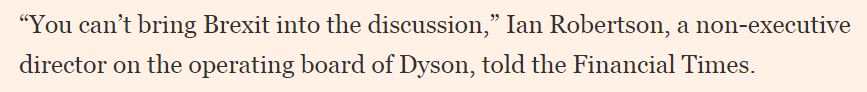 From Fast FT: 'UK manufacturing orders fall at fastest pace since 2015 — CBI survey'.  https://t.co/ZiArOcsd6H In other industrial news, it's great to hear that arch-Brexiteer James Dyson will manufacture his new electric car in... er... Singapore.