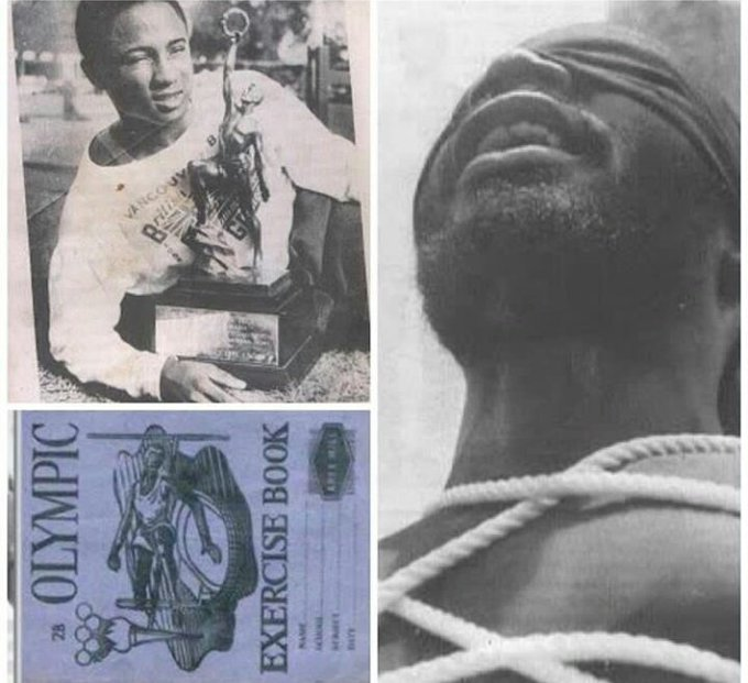 Emmanuel Ifeajuna was the 1st black African to win gold in an international sports event when he won at the 1954 British Empire and C/wealth Games in Vancouver. His image was later used for the front cover of a national exercise book for students in Nigeria. Foto
