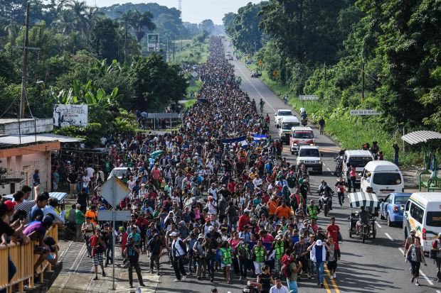 "*WHERE THE HELL ARE DEMOCRATS ON THE MOB HEADED TO OUR BORDER?  They're NOT ""migrants"" they ARE a mob (breaking borders/laws) who may  be carrying drugs, weapons and guns within their ranks.  The massive ""caravan"" of unknowns should scare every law abiding American to the polls."