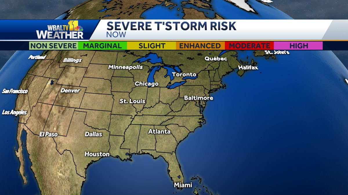 Here is the latest severe weather outlook from the Storm Prediction Center. #mdwx https://t.co/QY35tXnCkc