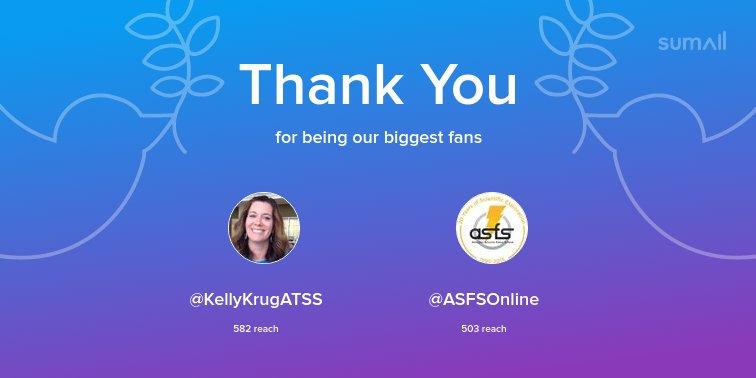 Our biggest fans this week: <a target='_blank' href='http://twitter.com/KellyKrugATSS'>@KellyKrugATSS</a>, <a target='_blank' href='http://twitter.com/ASFSOnline'>@ASFSOnline</a>. Thank you! via <a target='_blank' href='https://t.co/J0OwOPTISF'>https://t.co/J0OwOPTISF</a> <a target='_blank' href='https://t.co/K3ocGieqKn'>https://t.co/K3ocGieqKn</a>