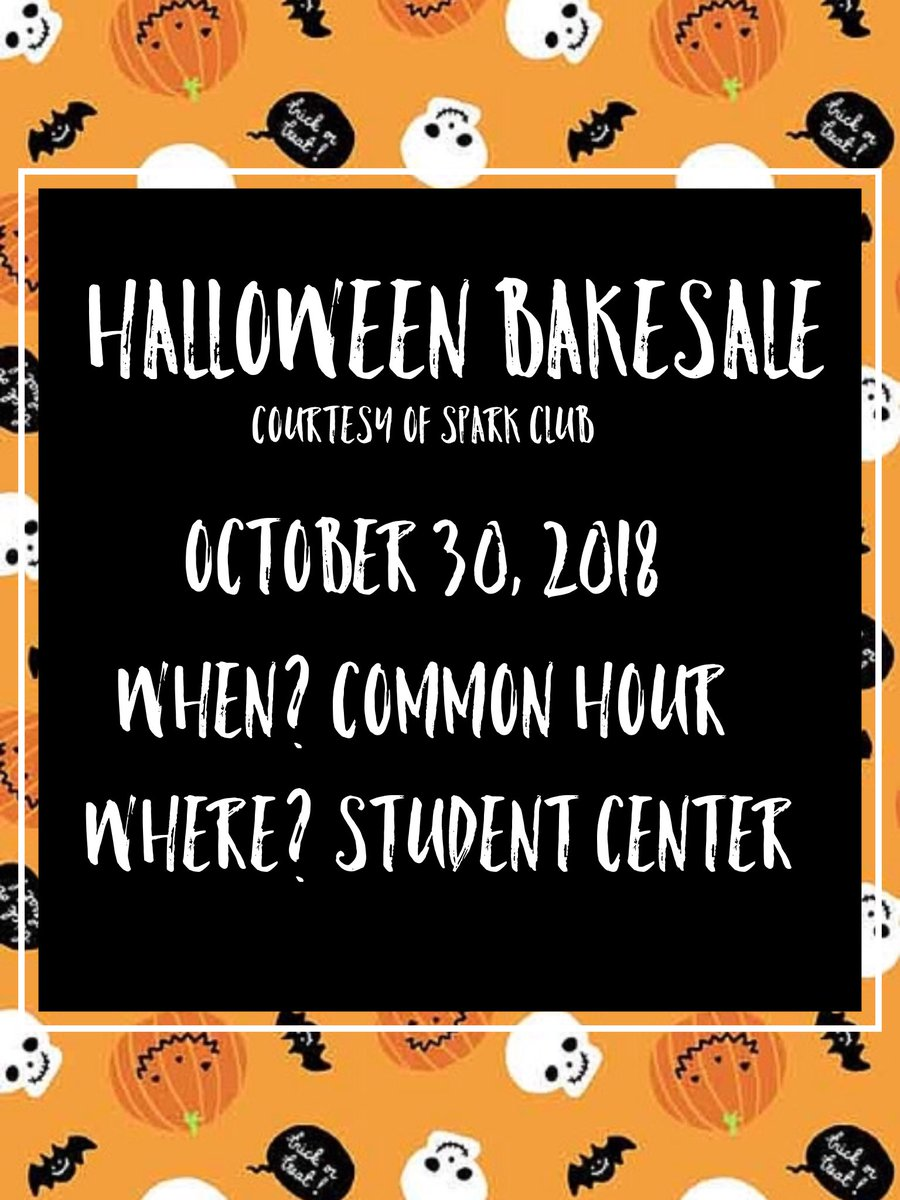 In the mood for some fall time sweets? SPARK has got you covered!! Our Halloween Bake sale will be on Tuesday, October 30th during common hour in the Student Center. Don't forget to stop by!!👻