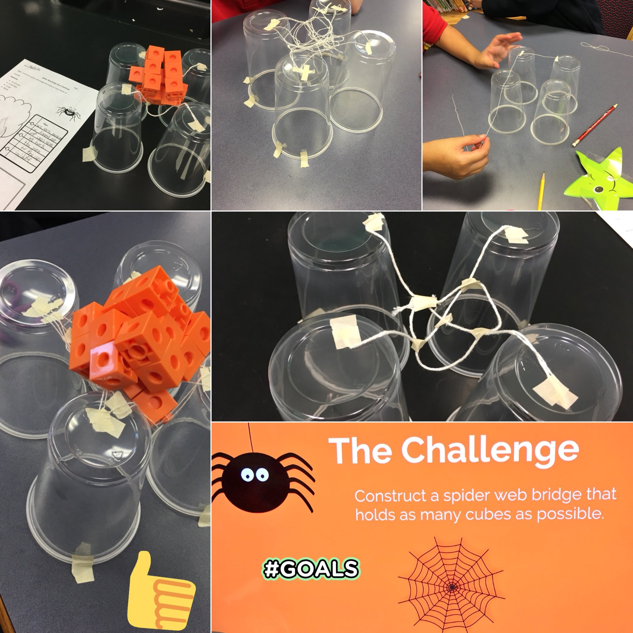 Murat Konac M Ed On Twitter Spider Web Bridge Stem Challenge Create A Spider Web Bridge Out Of Cups Tape And String To Hold As Many Blocks As Possible Stem Stemforall Halloween Gifted