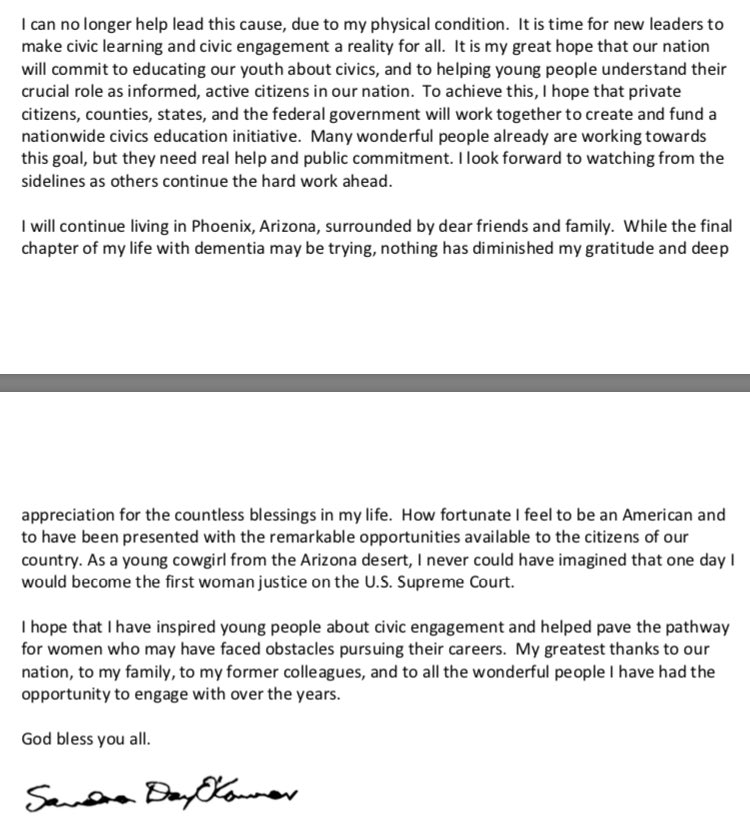 Retired Justice Sandra Day O'Connor, the first female justice in the US,  shares information about her health with the nation in a letter that her family has asked to be distributed. The Supreme Court's public information office sent it out this morning.