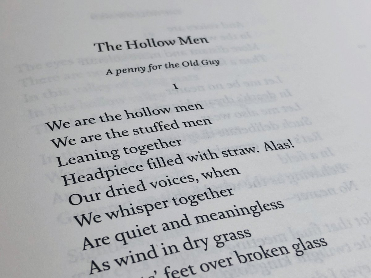 T S Eliot Foundation På Twitter We Are The Hollow Men We