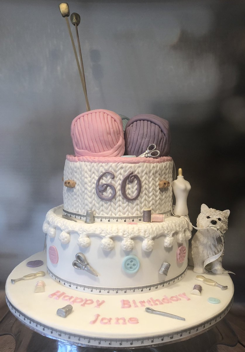 60th Birthday Cake For A Lovely Lady Who Enjoys Knitting And Sewing Vanilla Sponge With Buttercream Strawberry Jam