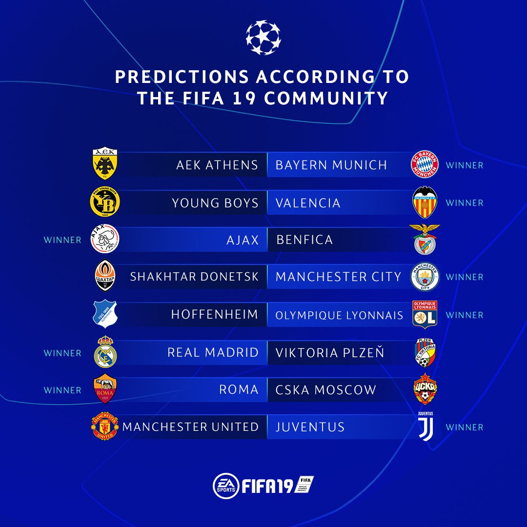 Today's #UCL matchday predictions from the #FIFA19 community 👇  Agree?