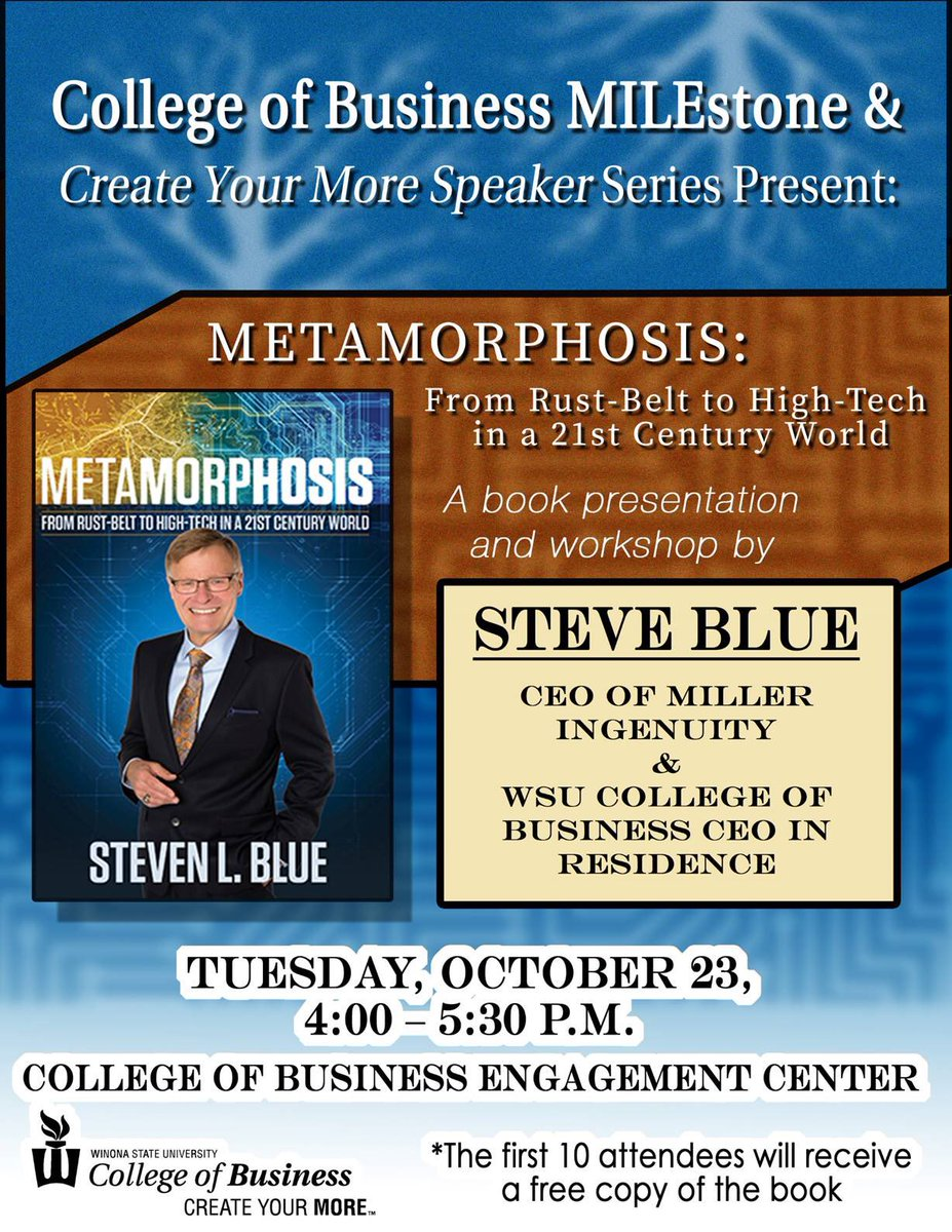 Join us tonight at 4pm in the Engagement Center as #MILEstone Days continue! Steve Blue will be here for a discussion of his book Metamorphosis, with a workshop to follow. See you there Warriors! #CreateYourMore