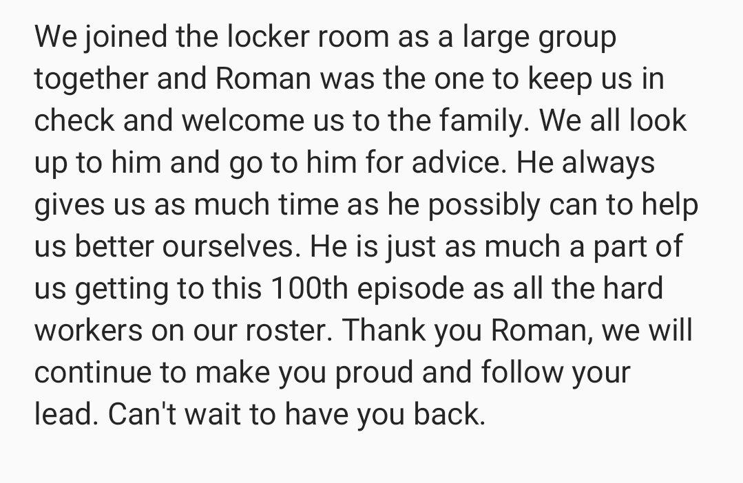 #ThankYouRoman @WWERomanReigns   #205Live100