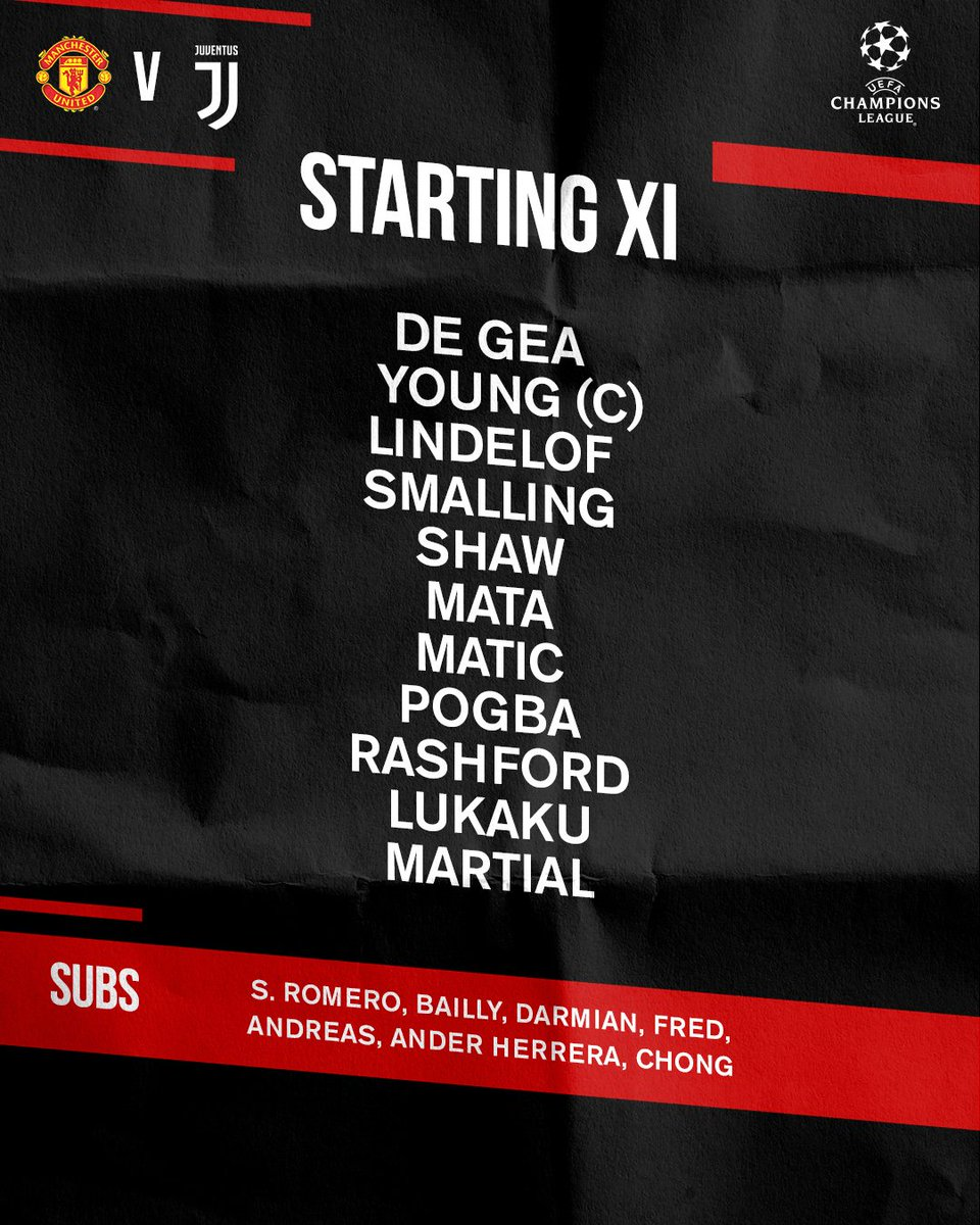 Team news for tonight's massive #UCL clash... #MUFC