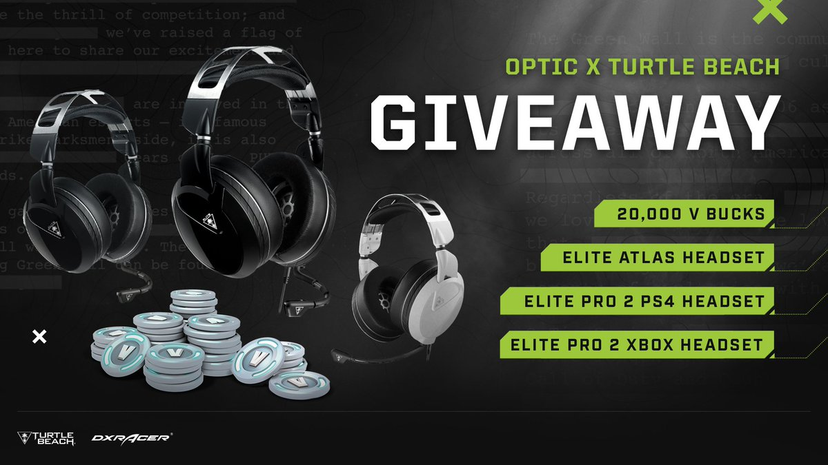 OpTic x @turtlebeach Fortnite Elite Giveaway   Support our Fortnite squad and get a chance to win your choice of headset from Turtle Beach's Elite line + 1 of three V-bucks prizes!  Enter here: https://t.co/X2Hez3auZl
