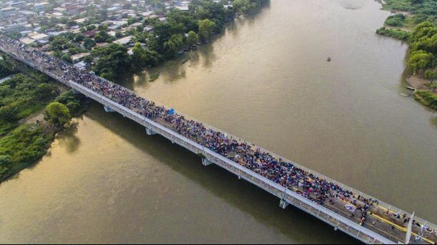 "This ""caravan"" has been going on for 20 years as refugees flee the violence of Guatemala, Honduras & El Salvador. Most end up in Mexico & are assisted by international refugee groups. Few walk the 1,000+ miles to the US. Trump is using this racist fear tactic to win the Midterms."