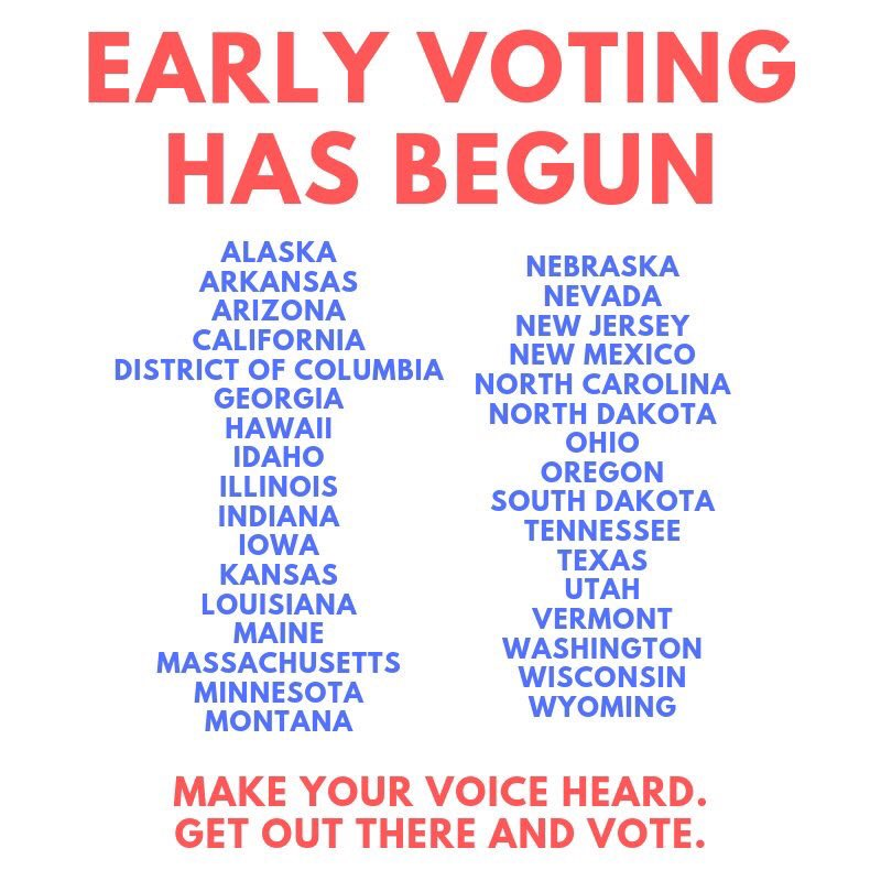 EARLY VOTING HAS BEGUN IN ALL OF THESE STATES!!! GO VOTE TODAY!!! TAKE FRIENDS WITH YOU!!! DON'T FORGET!!!