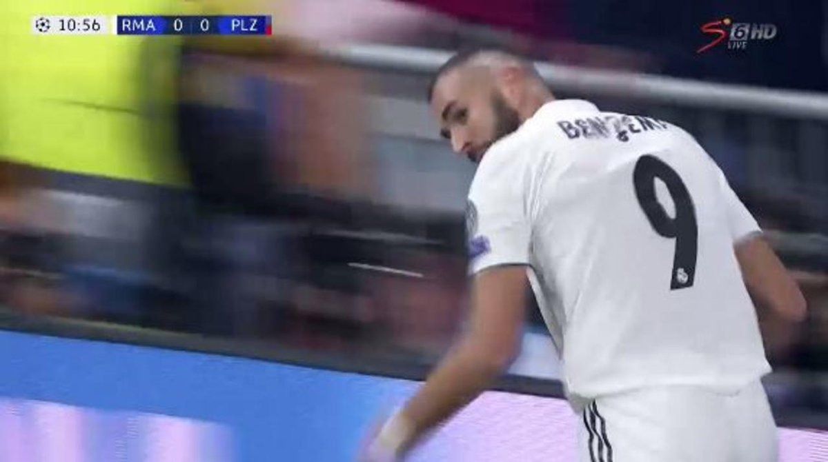 Benzema ⚽  Madrid take an early lead against Plzeň through a well taken header by Karim Benzema.  Watch LIVE >  https://t.co/3wUsZ1pF9y#UCL
