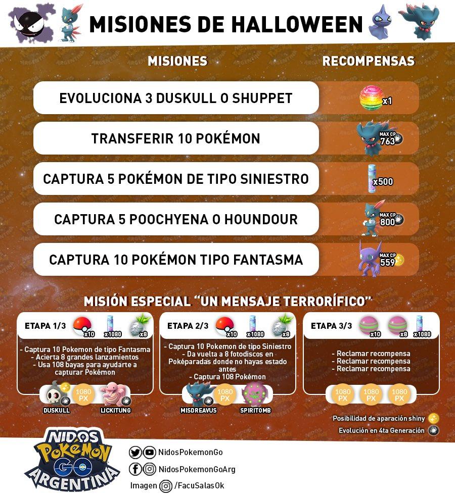 Imagen de las misiones de Halloween hecha por Nidos Pokemon GO Argentina
