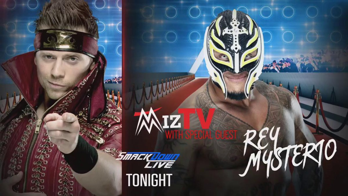 TONIGHT: After nearly five years away from @WWE, @reymysterio joins The #ALister @mikethemiz for #MizTV! #SDLive