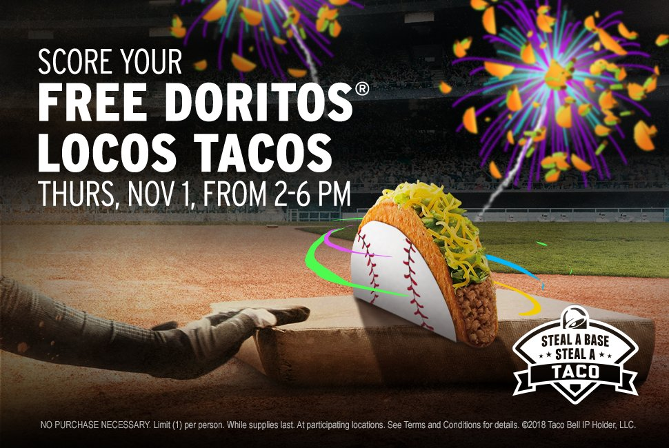 There it is! Thanks to that stolen base, everyone across 🇺🇸 gets FREE Doritos® Locos Tacos at @TacoBell next week!