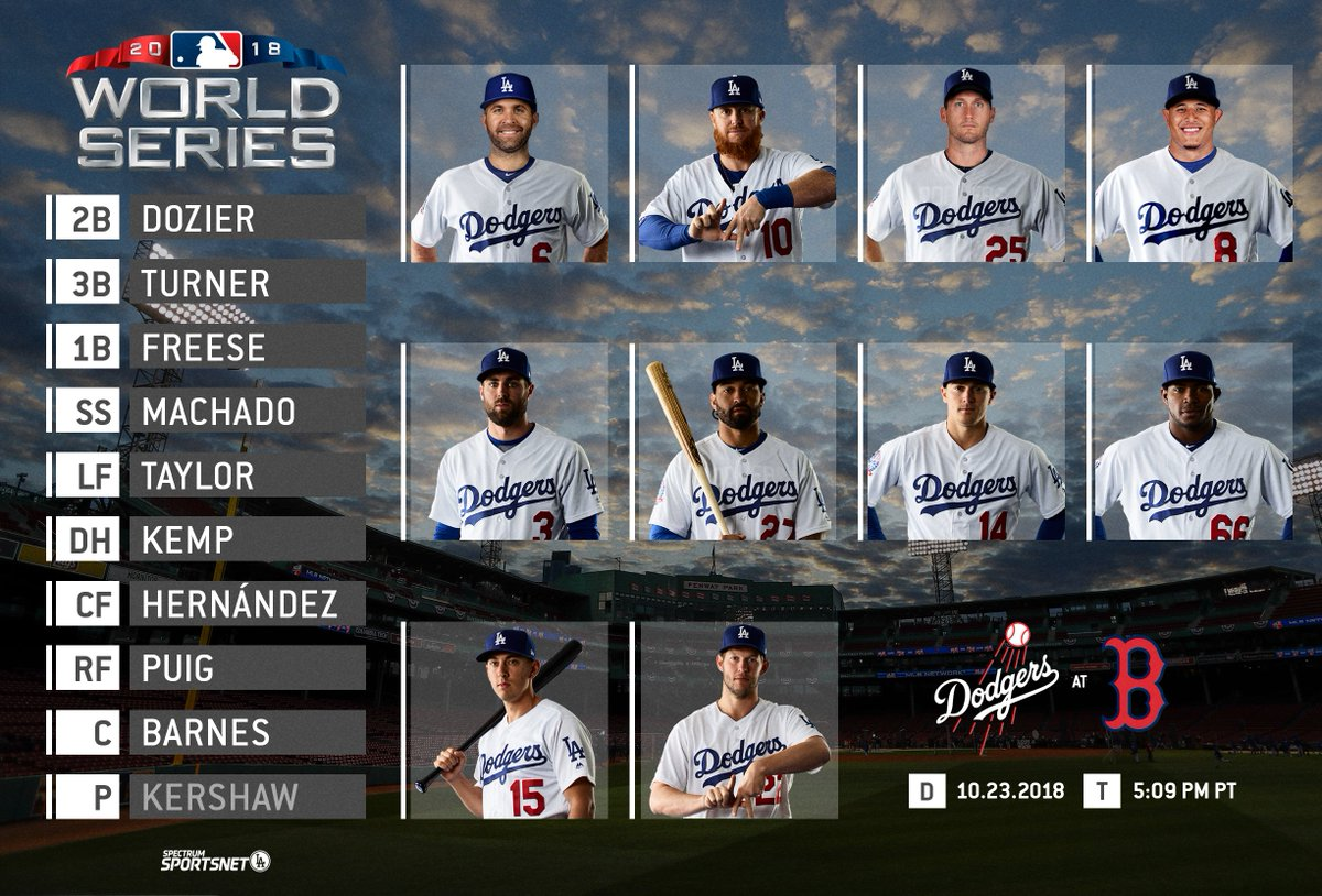 This is your #Dodgers lineup for Game 1 vs. the #RedSox.   #WorldSeries | #LADetermined