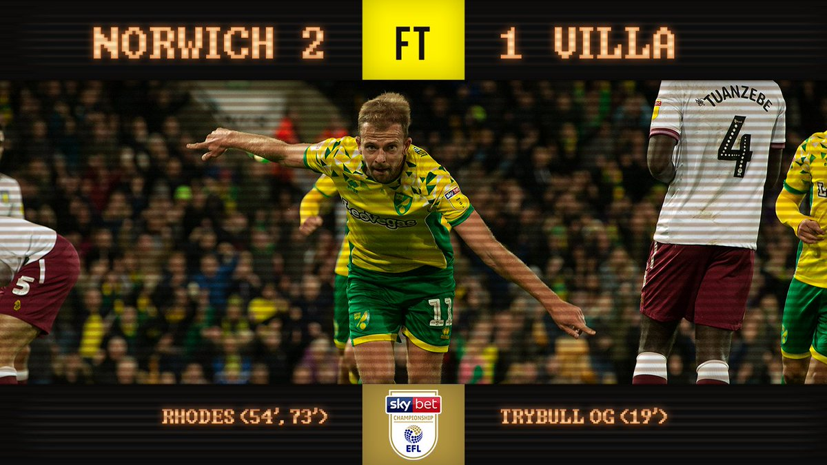 FULL-TIME | Norwich City 2-1 Aston Villa  Jordan Rhodes slots home two second half goals to give City another three points! #ncfc
