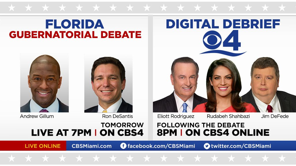 .@AndrewGillum and @RonDeSantisFL face off tomorrow night in final Gubernatorial debate ahead of #ElectionDay. #FLGovDebate Watch live at 7pm on #CBS4, https://t.co/9FZYNDqhCG, Facebook & Twitter then watch our Digital Debrief at 8pm w/ ,  &@DeFede @ERodCBS4@rudabehcbs4