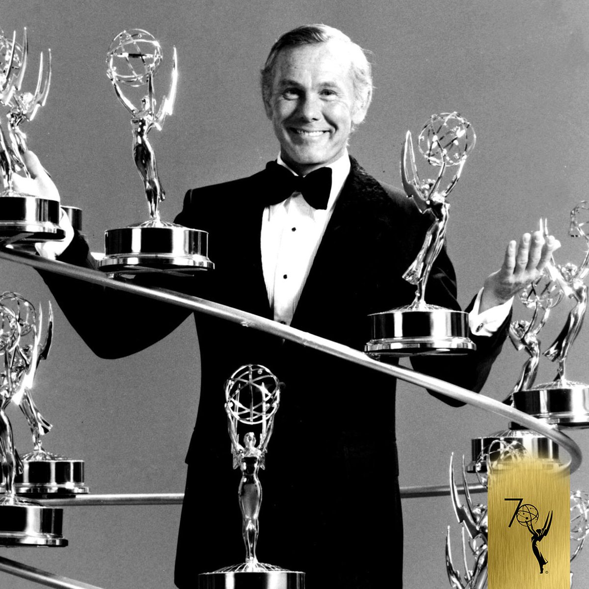 Today is the anniversary of #Emmys winner and five-time host Johnny Carson's birthday!  Johnny won Emmys in 1977, 1978, 1979, & 1992 for THE TONIGHT SHOW STARRING JOHNNY CARSON. He also received the Governors Award in 1980 and was inducted into the Hall of Fame in 1987. 70#Emmys70