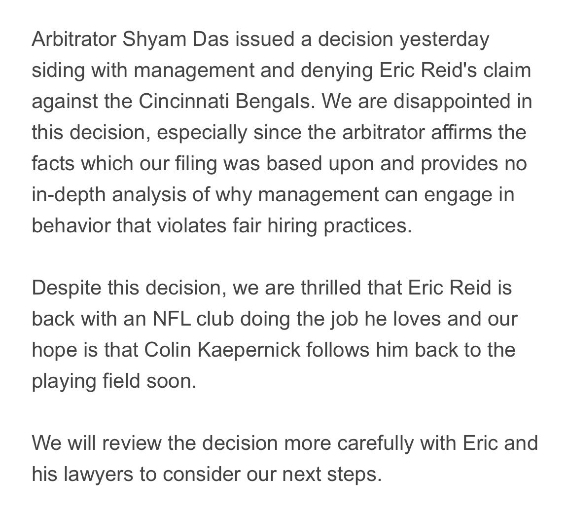 "NFLPA statement on the Eric Reid grievance ruling that @MikeGarafolo reported says it's disappointed, but thrilled Reid is on a team ""and our hope is that Colin Kaepernick follows him back to the playing field soon."""