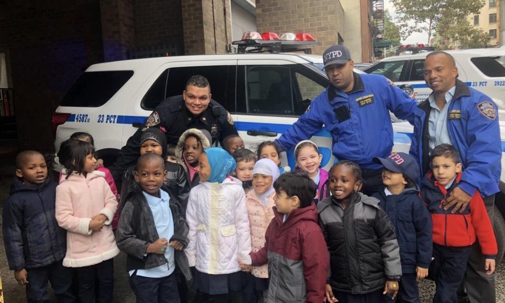 Most think that police officers leave an impression on children, but today the kids left the lasting memory! The Islamic Cultural Center School stopped by the @NYPD23Pct with high five hand-prints the students made for the officers. This is what a good day looks like.